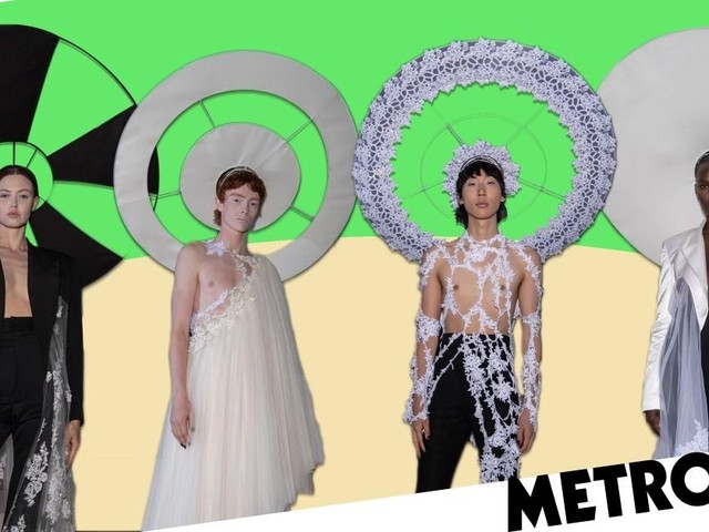 Rising fashion designer Harris Reed creates catwalk looks from Oxfam clothes at London Fashion Week