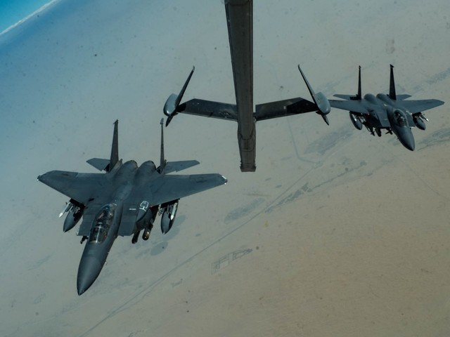 US Air Force F-15 fighter jets are patrolling the Persian Gulf with cluster bombs, and they may be Iranian gunboat killers