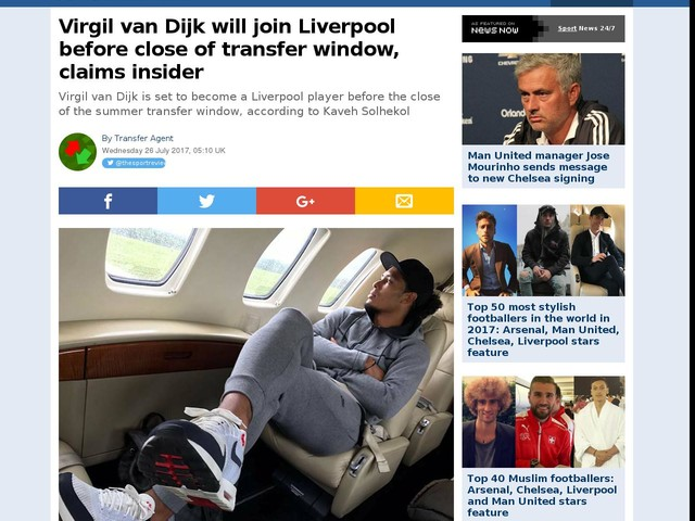 Virgil van Dijk will join Liverpool before close of transfer window, claims insider