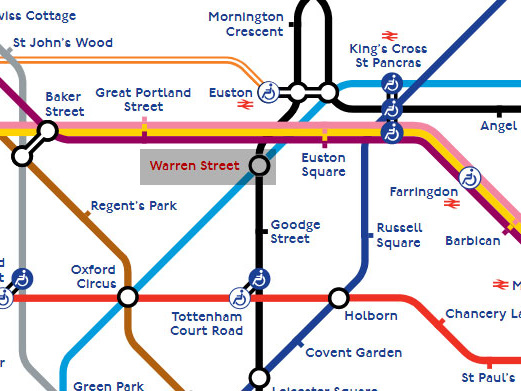 Reduced service at Warren Street tube station from Monday