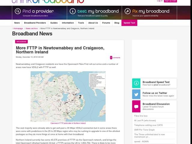 More FTTP in Newtownabbey and Craigavon, Northern Ireland