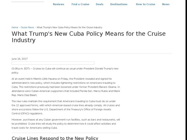 What Trump's New Cuba Policy Means for the Cruise Industry