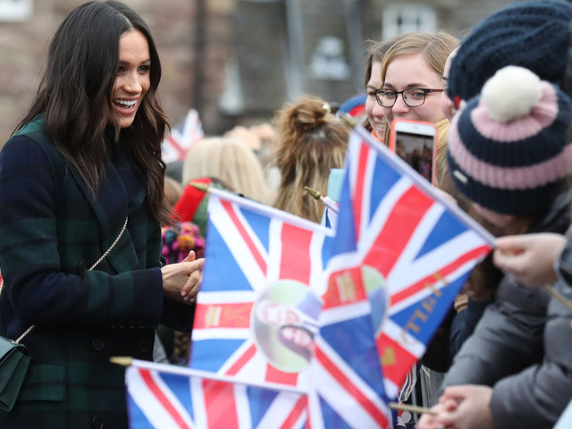 Meghan Markle Wears Burberry Tartan Coat On Day Trip To Edinburgh With Prince Harry