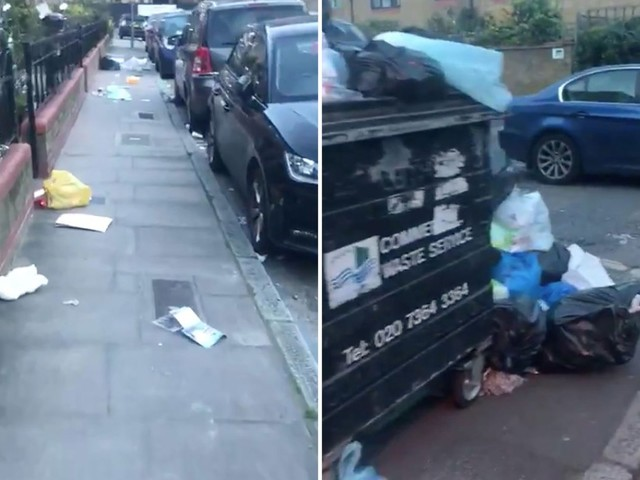 Shocking video shows mountains of rubbish piled in East London streets after bin strike in coronavirus lockdown