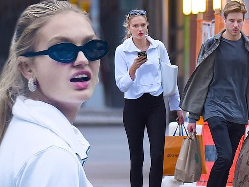 Romee Strijd looks sporty yet chic as she fetches groceries with boyfriend Laurens van Leeuwen