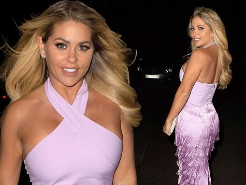 Bianca Gascoigne looks radiant as ever in lilac dress as she enjoys a night out with pals