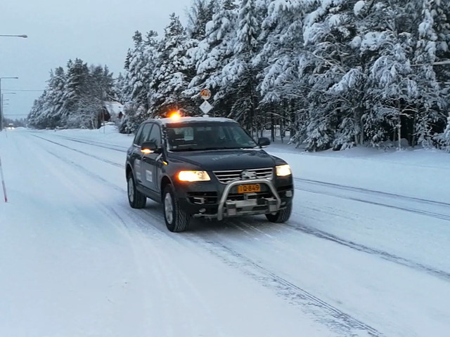 Finnish autonomous car goes for a leisurely cruise in the driving snow