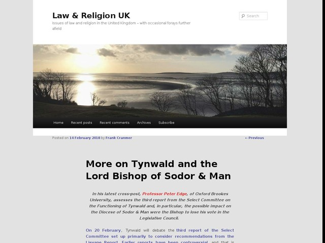 More on Tynwald and the Lord Bishop of Sodor & Man