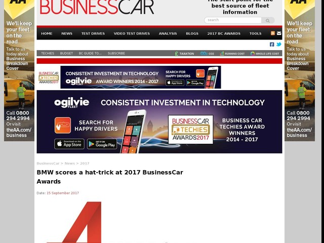 BMW scores a hat-trick at 2017 BusinessCar Awards