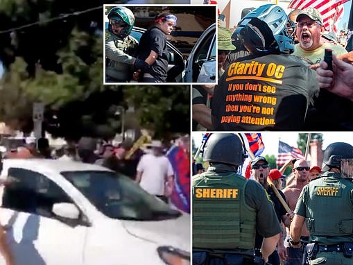 Shocking moment BLM organizer plows her car into crowd of Trump supporters