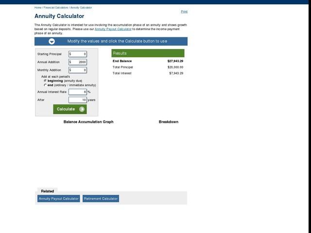 annuity calculator finance anygator com