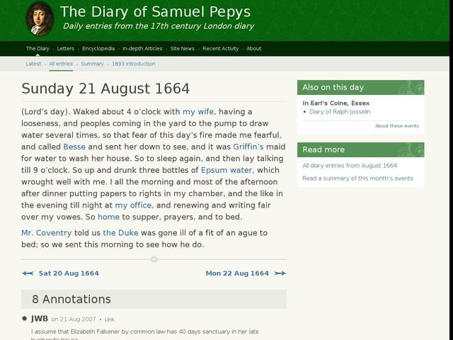 Sunday 21 August 1664