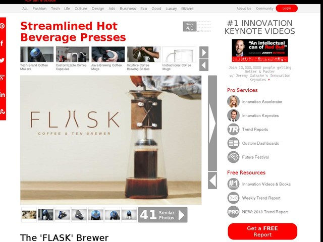 Streamlined Hot Beverage Presses - The 'FLASK' Brewer Prepares the Perfect Coffee and Tea (TrendHunter.com)
