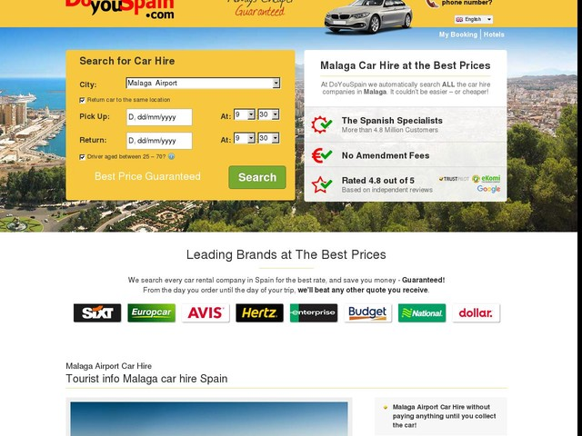 Malaga Car Hire from £2 day - 100% Lowest Price Guaranteed!