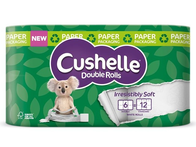Plastic-Free Toilet Paper Packaging - Cushelle Double Rolls are Now Packaged Plastic-Free Wrap (TrendHunter.com)