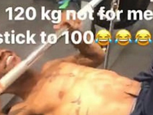 Raheem Sterling gets caught under bench press after putting too much weight on