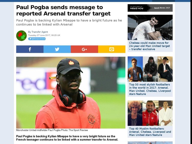 Paul Pogba sends message to reported Arsenal transfer target