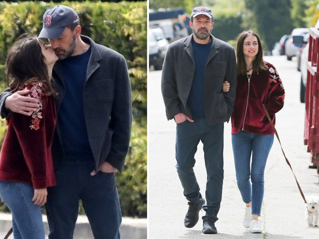 Ben Affleck and new girlfriend Ana de Armas show love is in the air as they kiss during dog walk