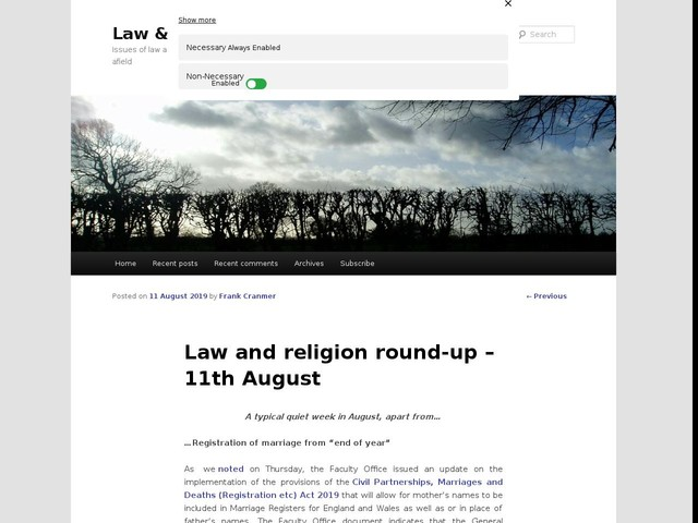 Law and religion round-up – 11th August