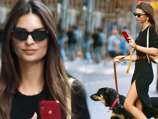 Emily Ratajkowski puts on a leggy display in black dress as she takes dog Columbo for a walk in NYC