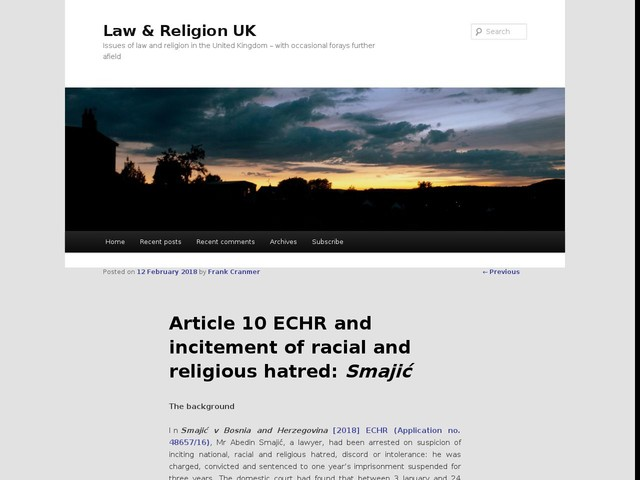Article 10 ECHR and incitement of racial and religious hatred: Smajić