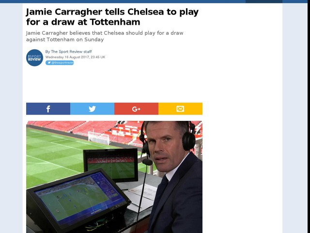 Jamie Carragher tells Chelsea to play for a draw at Tottenham