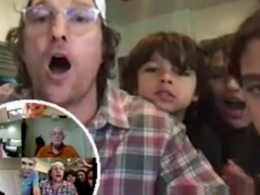 Matthew McConaughey and his family plays some virtual bingo with seniors in Texas