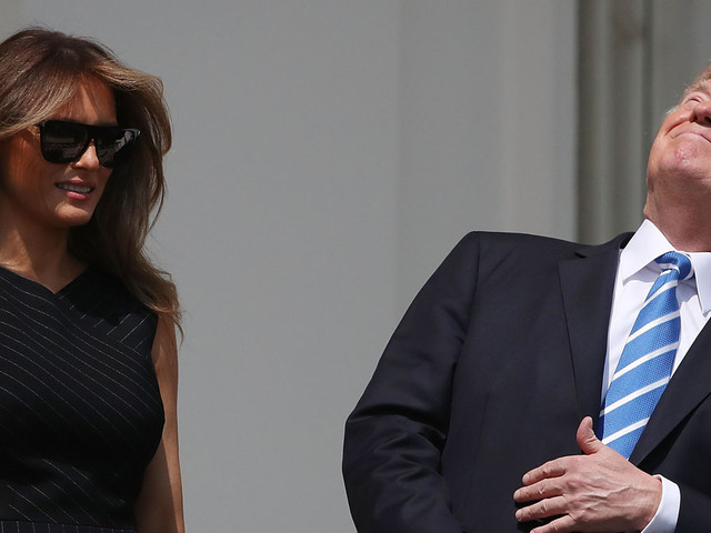 Donald Trump Looked Directly at the Sun During Eclipse Without Glasses