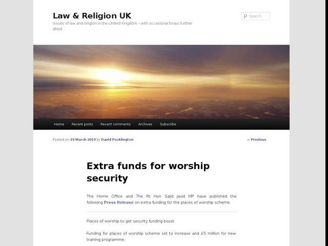 Extra funds for worship security