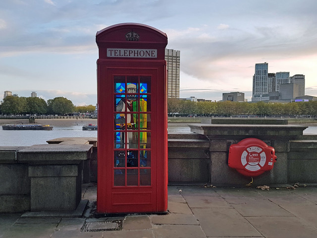 A stained glass phone box has appeared on Embankment