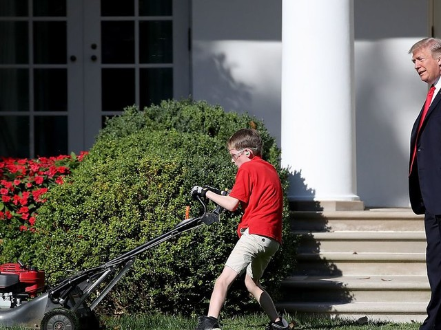 Child president tries to talk to little boy who mowed White House lawn, gets memed instead