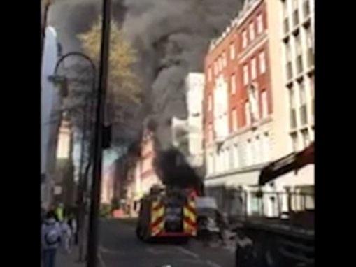 Huge fire on Great Portland Street in London