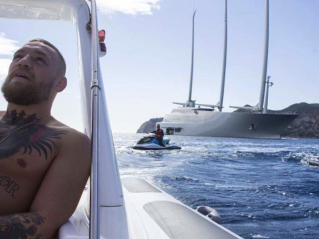 A Russian billionaire's £360 million superyacht has been spotted in Ibiza again, this time by Conor McGregor — and he's freaking out