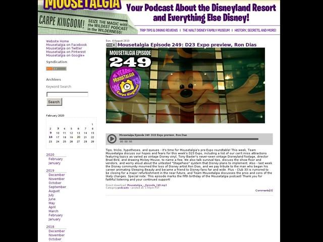Mousetalgia Episode 249: D23 Expo preview, Ron Dias