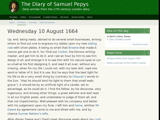 Wednesday 10 August 1664