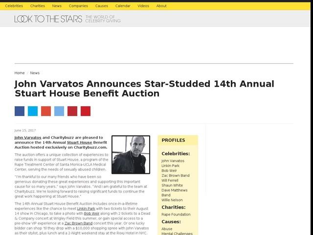 John Varvatos Announces Star-Studded 14th Annual Stuart House Benefit Auction