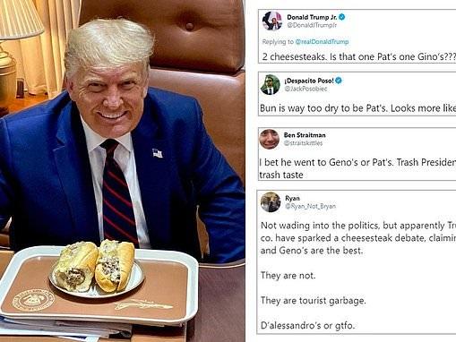 Trump ignites fierce debate over Philly's best cheesesteak as he posts beaming Air Force One snap