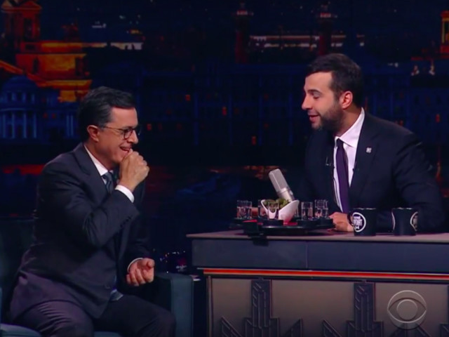 Stephen Colbert Does Some Collusion of His Own on a Real Russian Late Night TV Show