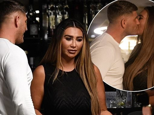 Lauren Goodger kisses a mystery man while filming Celebs Go Dating in a restaurant in Essex