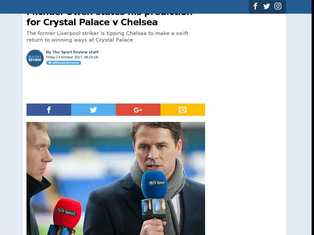 Michael Owen states his prediction for Crystal Palace v Chelsea