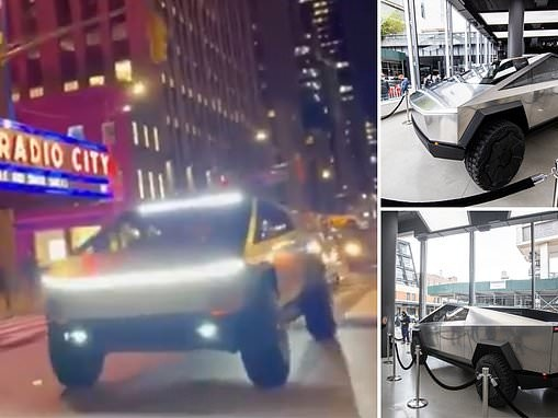 Hundreds of New Yorkers line up in the rain to catch a glimpse of the Tesla Cybertruck prototype