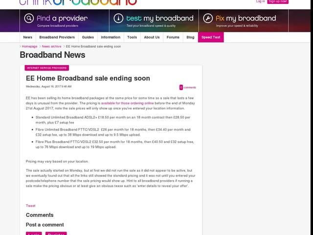 EE Home Broadband sale ending soon