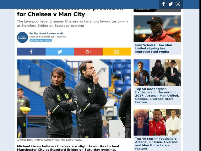 Michael Owen states his prediction for Chelsea v Man City