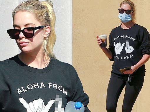 Ashley Benson makes social distancing statement with 'Aloha from 6 feet away' shirt in LA