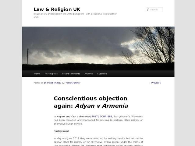 Conscientious objection again: Adyan v Armenia