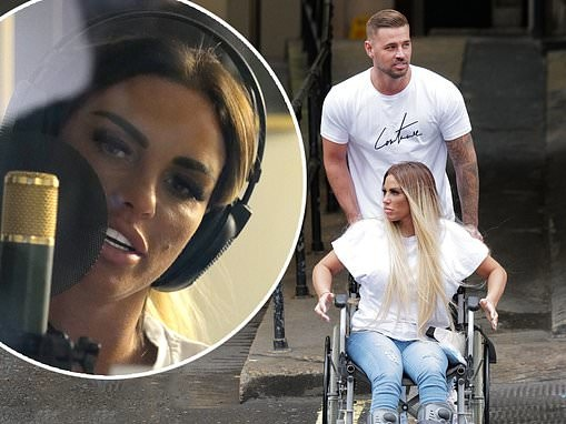 Katie Price is joined by boyfriend Carl Woods as she heads to the studio to record new music