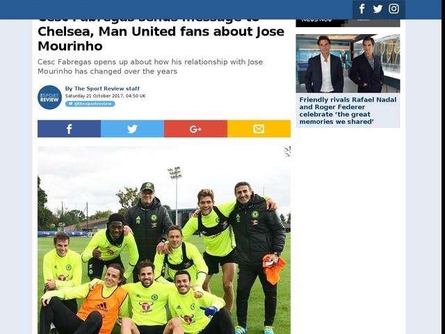 Cesc Fabregas sends message to Chelsea, Man United fans about Jose Mourinho