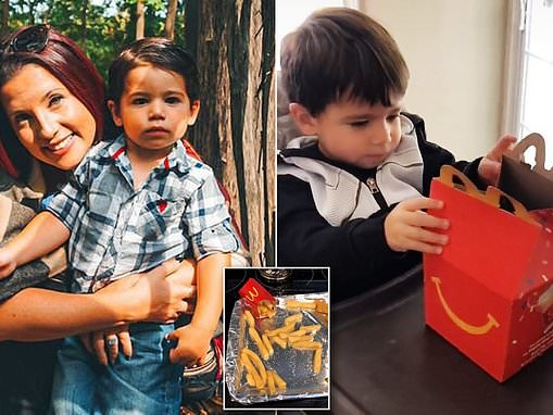 Mother tricks two-year-old son into eating by putting his food in a McDonald's 'Happy Meal' box