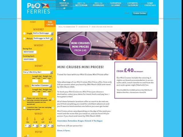 Mini Cruises Mini Prices | Ferry Offer | P&O Ferries - UK