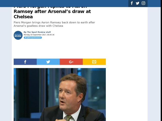 Piers Morgan replies to Aaron Ramsey after Arsenal's draw at Chelsea